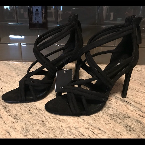 a907adfbbe Zara Shoes | Black Strappy Caged Peep Toe Sandal Heel 38 | Poshmark
